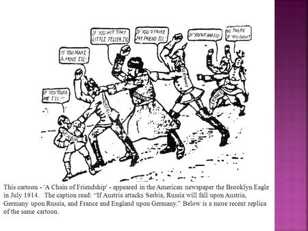 "This cartoon - 'A Chain of Friendship' - appeared in the American newspaper the Brooklyn Eagle in July 1914. The caption read: ""If Austria attacks Serbia,"