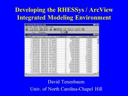 Developing the RHESSys / ArcView Integrated Modeling Environment David Tenenbaum Univ. of North Carolina-Chapel Hill.