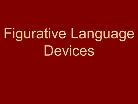 "Figurative Language Devices. My image of poetry Open up a new KEYNOTE document 1.Click create presentation. 2.Click ""Harmony"" 3.Change the title slide."