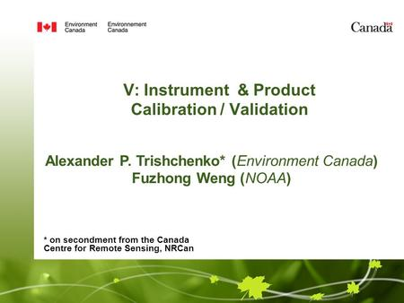 V: Instrument & Product Calibration / Validation Alexander P. Trishchenko* (Environment Canada) Fuzhong Weng (NOAA) * on secondment from the Canada Centre.