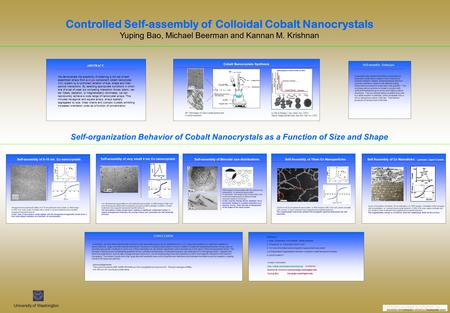 Controlled Self-assembly of Colloidal Cobalt Nanocrystals Yuping Bao, Michael Beerman and Kannan M. Krishnan Cobalt Nanocrystals Synthesis BF TEM image.