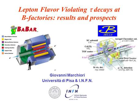 Lepton Flavor Violating  decays at B-factories: results and prospects Giovanni Marchiori Università di Pisa & I.N.F.N.