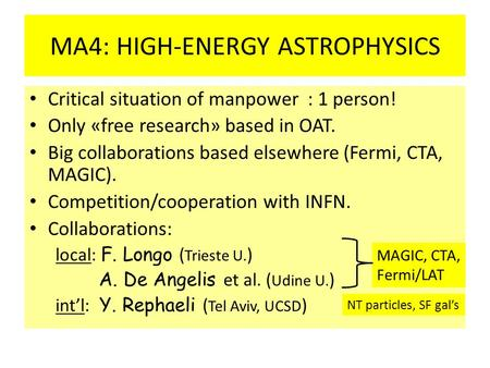 MA4: HIGH-ENERGY ASTROPHYSICS Critical situation of manpower : 1 person! Only «free research» based in OAT. Big collaborations based elsewhere (Fermi,