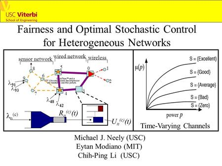 Fairness and Optimal Stochastic Control for Heterogeneous Networks Time-Varying Channels 01 2 3 4 5 6 7 8 9     U n (c) (t) R n (c) (t) n (c) sensor.