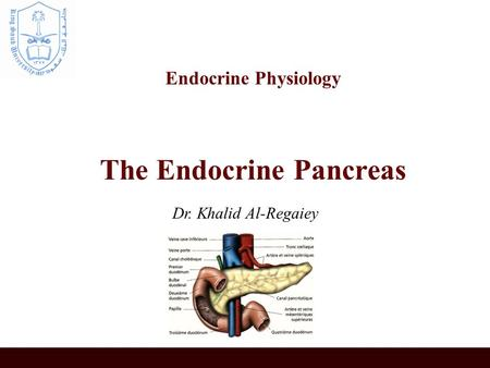 Endocrine Physiology The Endocrine Pancreas Dr. Khalid Al-Regaiey.