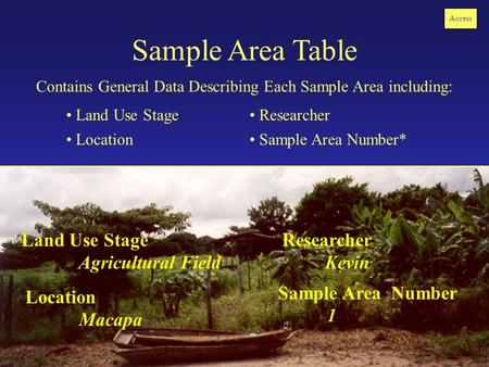 Sample Area Table Contains General Data Describing Each Sample Area including: Land Use Stage Location Researcher Sample Area Number* Access Land Use Stage.