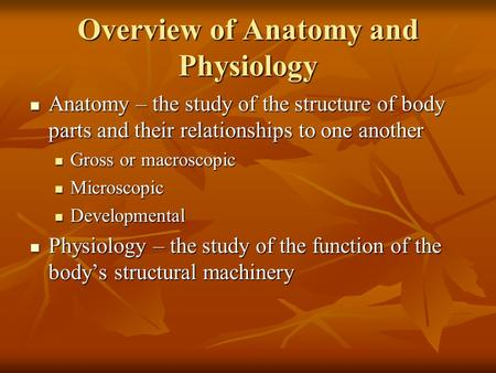 Overview of Anatomy and Physiology Anatomy – the study of the structure of body parts and their relationships to one another Anatomy – the study of the.