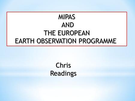EARTH OBSERVATION PROGRAMME