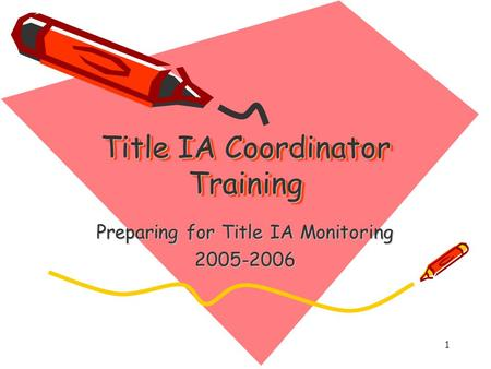 1 Title IA Coordinator Training Preparing for Title IA Monitoring 2005-2006.