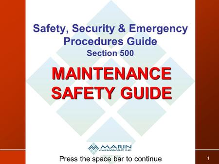 Safety, Security & Emergency Procedures Guide Section 500