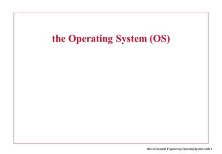 MicroComputer Engineering OperatingSystem slide 1 the Operating System (OS)