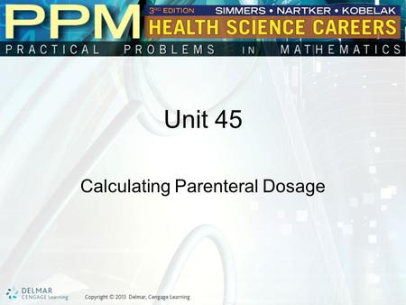 Unit 45 Calculating Parenteral Dosage. Basic Principles of Calculating Parenteral Dosage Parenteral medications are medications that are injected into.