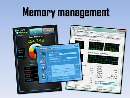 Memory management. Memory Management - explain how memory is managed in a typical modern computer system, (virtual memory, paging and segmentation should.