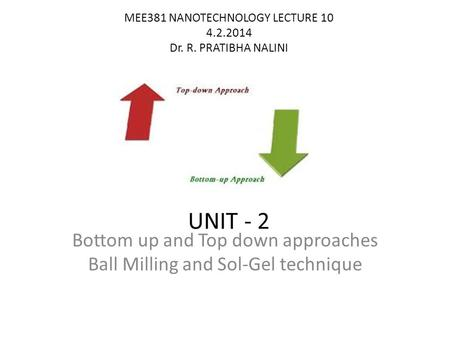 MEE381 NANOTECHNOLOGY LECTURE 10 4.2.2014 Dr. R. PRATIBHA NALINI UNIT - 2 Bottom up and Top down approaches Ball Milling and Sol-Gel technique.