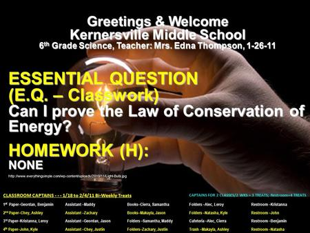 Greetings & Welcome Kernersville Middle School 6 th Grade Science, Teacher: Mrs. Edna Thompson, 1-26-11 ESSENTIAL QUESTION (E.Q. – Classwork) Can I prove.