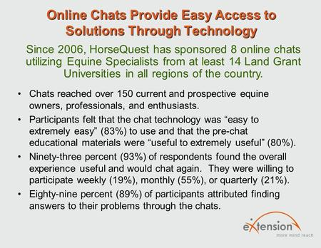 Online Chats Provide Easy Access to Solutions Through Technology Chats reached over 150 current and prospective equine owners, professionals, and enthusiasts.