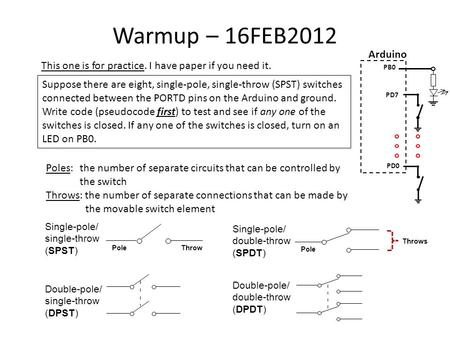 Warmup – 16FEB2012 This one is for practice. I have paper if you need it. Suppose there are eight, single-pole, single-throw (SPST) switches connected.