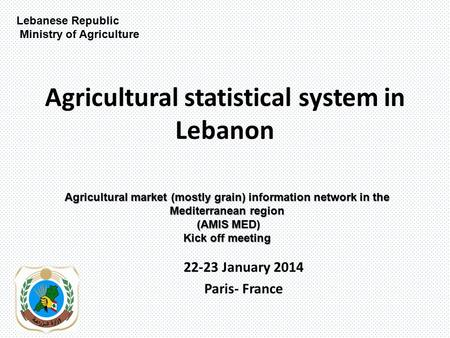 Agricultural statistical system in Lebanon 22-23 January 2014 Paris- France Lebanese Republic Ministry of Agriculture Agricultural market (mostly grain)