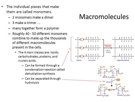 Macromolecules The individual pieces that make them are called monomers. – 2 monomers make a dimer – 3 make a trimer... – many together form a polymer.