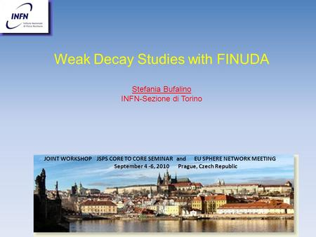 JOINT WORKSHOP JSPS CORE TO CORE SEMINAR and EU SPHERE NETWORK MEETING September 4 -6, 2010 Prague, Czech Republic Weak Decay Studies with FINUDA Stefania.