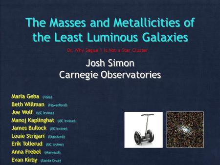 The Masses and Metallicities of the Least Luminous Galaxies Josh Simon Carnegie Observatories Josh Simon Carnegie Observatories Marla Geha (Yale) Beth.