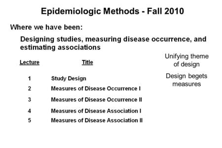 Epidemiologic Methods - Fall 2010 Unifying theme of design Design begets measures.