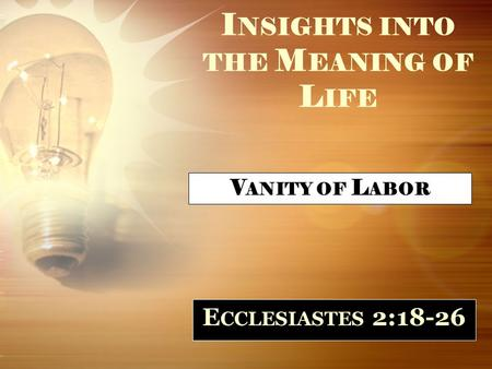 I NSIGHTS INTO THE M EANING OF L IFE E CCLESIASTES 2:18-26 V ANITY OF L ABOR.