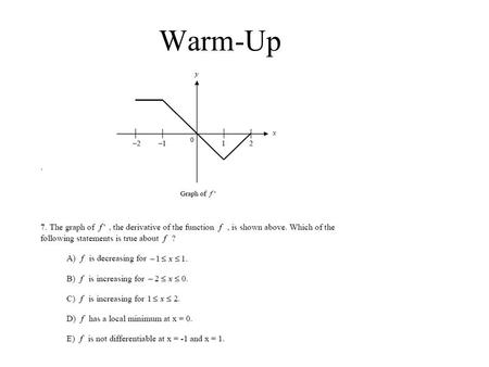 Warm-Up 4-1: Antiderivatives & Indefinite Integrals ©2002 Roy L. Gover (www.mrgover.com) Objectives: Define the antiderivative (indefinite integral)