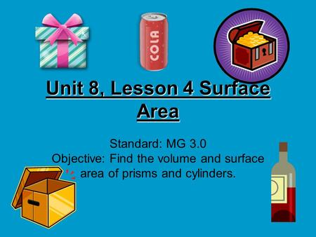 Unit 8, Lesson 4 Surface Area Standard: MG 3.0 Objective: Find the volume and surface area of prisms and cylinders.