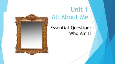 Unit 1 All About Me Essential Question: Who Am I?.