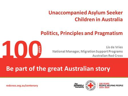 Place Headline here Unaccompanied Asylum Seeker Children in Australia Politics, Principles and Pragmatism Lis de Vries National Manager, Migration Support.