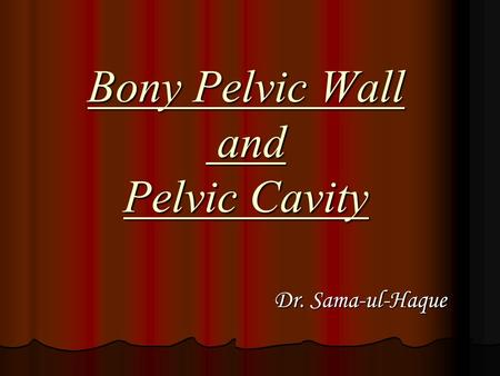 Bony Pelvic Wall and Pelvic Cavity Dr. Sama-ul-Haque Dr. Sama-ul-Haque.