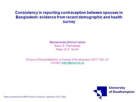 Consistency in reporting contraception between spouses in Bangladesh: evidence from recent demographic and health survey Mohammad Amirul Islam Sabu S.