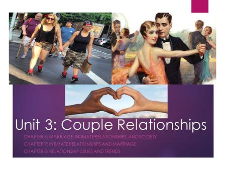 Unit 3: Couple Relationships CHAPTER 6: MARRIAGE, INTIMATE RELATIONSHIPS, AND SOCIETY CHAPTER 7: INTIMATE RELATIONSHIPS AND MARRIAGE CHAPTER 8: RELATIONSHIP.