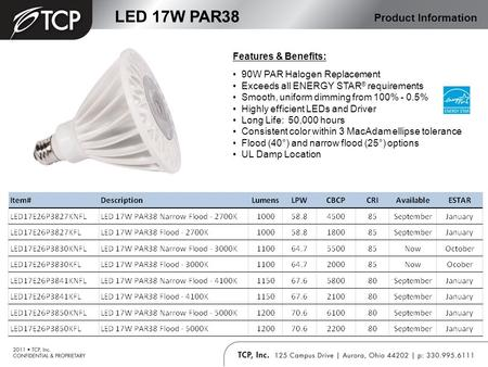LED 17W PAR38 Product Information Features & Benefits: 90W PAR Halogen Replacement Exceeds all ENERGY STAR ® requirements Smooth, uniform dimming from.