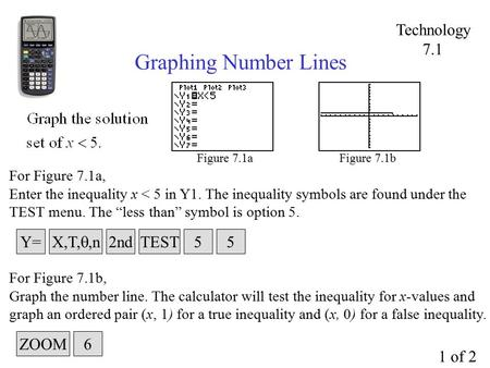 "Graphing Number Lines Figure 7.1a For Figure 7.1a, Enter the inequality x < 5 in Y1. The inequality symbols are found under the TEST menu. The ""less than"""