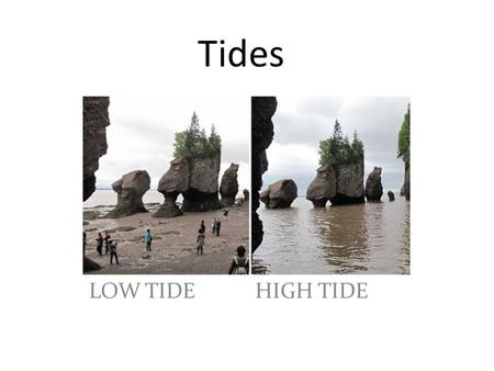 Tides LOW TIDE HIGH TIDE. Tides Tides are rises and falls in ocean water that cycle every 12.5 hours. – Rises for about 6 hours – Falls for about 6 hours.