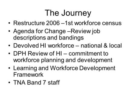 The Journey Restructure 2006 –1st workforce census Agenda for Change –Review job descriptions and bandings Devolved HI workforce – national & local DPH.