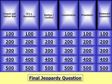 Final Jeopardy Question French and Indian War It's a Revolution 100 Westward Expansion ConstitutionPresidents 500 400 300 200 100 200 300 400 500 400 300.