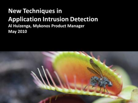 New Techniques in Application Intrusion Detection Al Huizenga, Mykonos Product Manager May 2010.