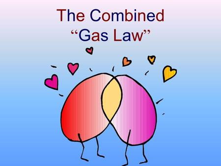 "The Combined "" Gas Law "". Various Gas Laws Boyles Law: –initial pressure equals final pressure times final volume  P 1 V 1  P 2 V 2 Charles Law: –the."