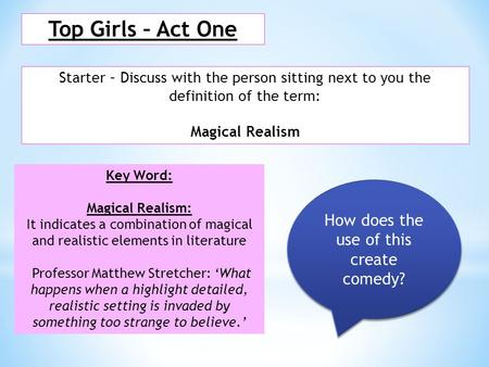 Top Girls – Act One Starter – Discuss with the person sitting next to you the definition of the term: Magical Realism Key Word: Magical Realism: It indicates.