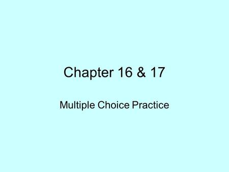 Multiple Choice Practice