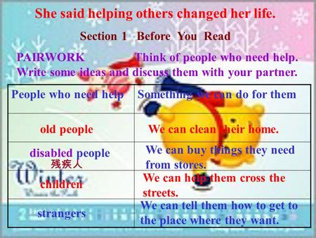 She said helping others changed her life. Section 1 Before You Read PAIRWORK Think of people who need help. Write some ideas and discuss them with your.
