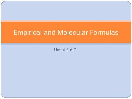 Unit 6.6-6.7 Empirical and Molecular Formulas. Empirical Formulas Consists of the symbols for the elements combined in a compound, with subscripts showing.