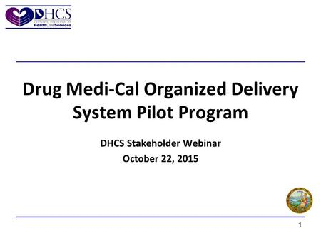 Drug Medi-Cal Organized Delivery System Pilot Program