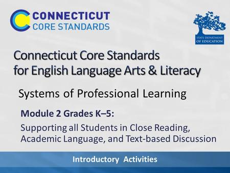 Introductory Activities Systems of Professional Learning Module 2 Grades K–5: Supporting all Students in Close Reading, Academic Language, and Text-based.
