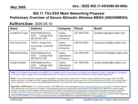 Doc.: <strong>IEEE</strong> 802.11-05/0395-00-000s Submission May 2005 Jonathan Agre et al., Fujitsu Labs of AmericaSlide 1 802.11 TGs ESS Mesh <strong>Networking</strong> Proposal Preliminary.