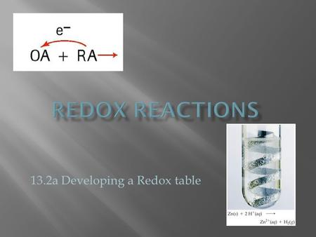13.2a Developing a Redox table.  the relative reactivity of metals can be used to determine which redox reactions are spontaneous In all redox reactions,