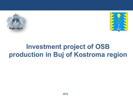 2012 Investment project of OSB production in Buj of Kostroma region.